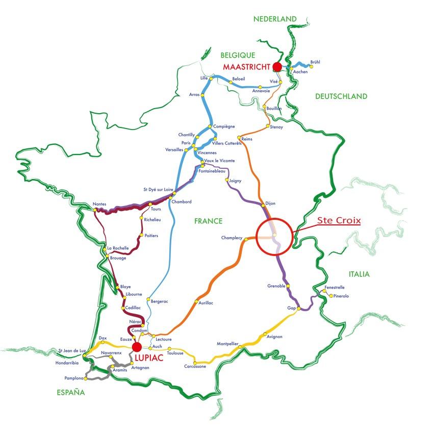Carte de la Route Européenne d'Artagnan